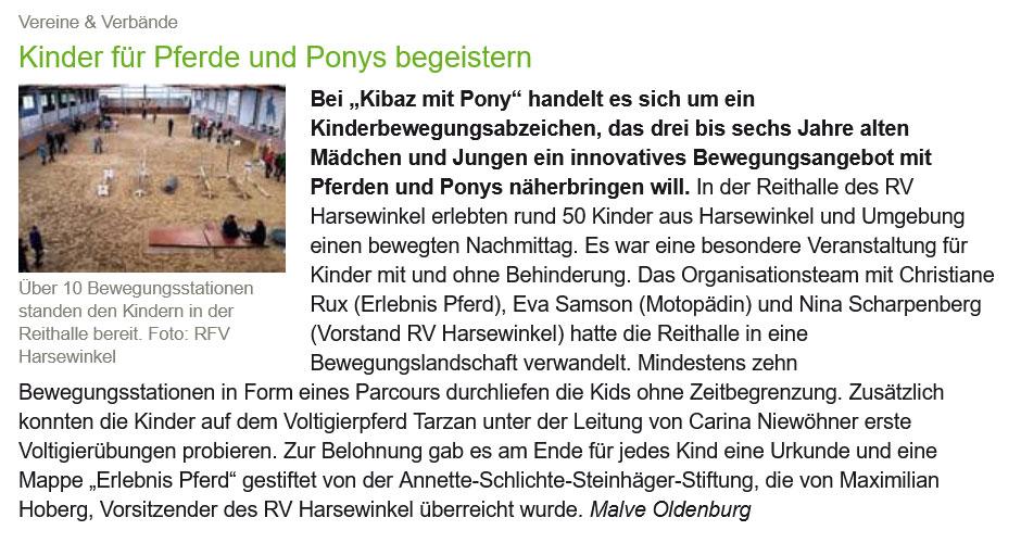 """Kinder für Pferde und Ponys begeistern - """"Kibaz mit Pony"""" Artikel über das Kinderbewegungsabzeichen in """"Reiter & Pferde in Westfalen"""""""
